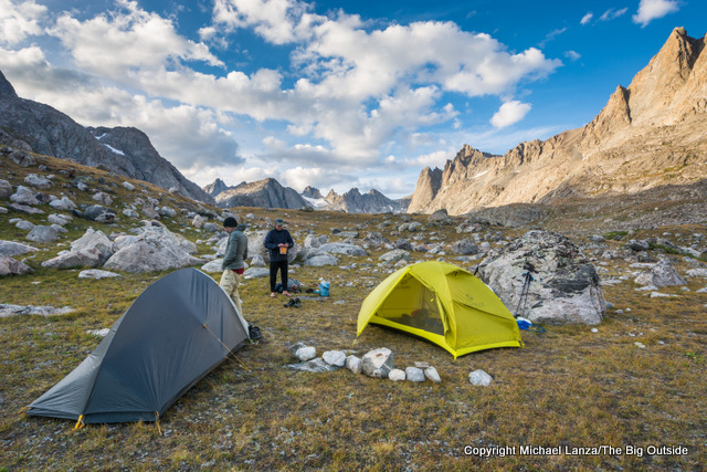 Campsite in Titcomb Basin, Wind River Range, Wyoming.