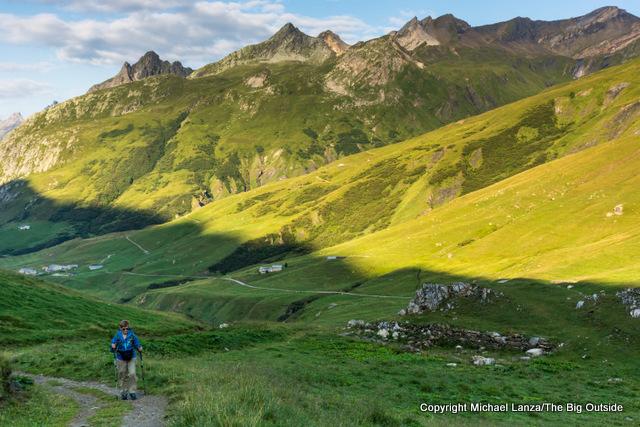Hiking to the Col de la Seigne, Tour du Mont Blanc, France.