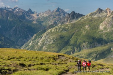 Inken, Penny, and Guido hiking to Col de la Seigne, Tour du Mont Blanc, France.