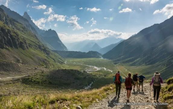 Trekking down the Val de la Blanche, Tour du Mont Blanc, Italy.