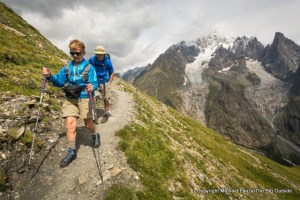 Mom and Marco hiking to Courmayeur, Italy, on the Tour du Mont Blanc.