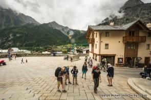 Walking through Courmayeur, Italy, on the Tour du Mont Blanc.