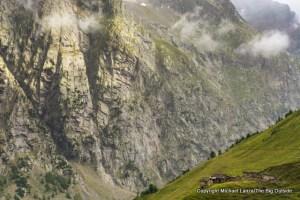 Hiking to Grand Col de Ferret, Tour du Mont Blanc, Italy.