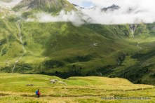 Inken hiking to la Peule, Tour du Mont Blanc, Switzerland.