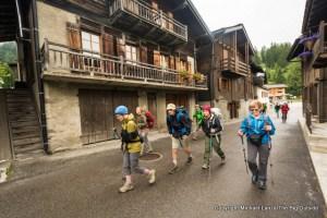 Hiking the Tour du Mont Blanc through La Fouly, Switzerland.