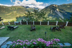 Back yard of the Hotel Alpina, Tour du Mont Blanc, Champex-Lac, Switzerland.