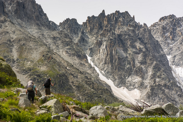 Hikers trekking to the Fenetre d'Arpette on the Tour du Mont Blanc in Switzerland.
