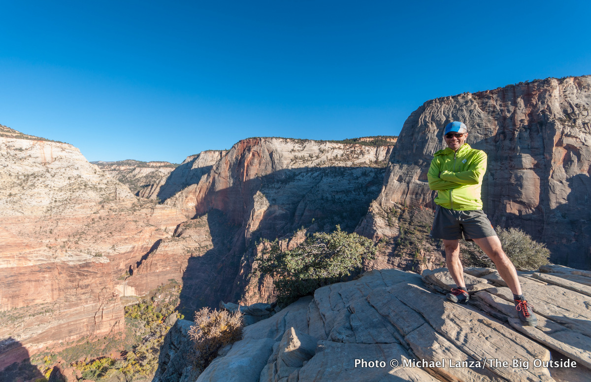 Michael Lanza on the summit of Angels Landing, Zion National Park.