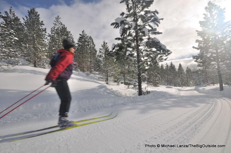 Penny Beach skate-skiing in Idaho's Boise Mountains.
