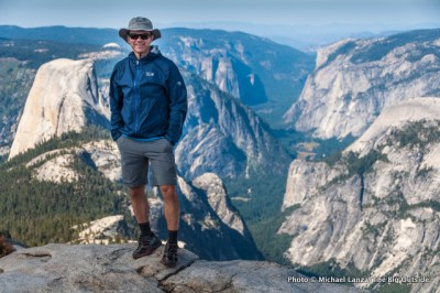 Michael Lanza on the summit of Clouds Rest, Yosemite National Park.