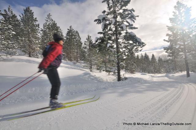 Nordic skate-skiing in Idaho's Boise Mountains.