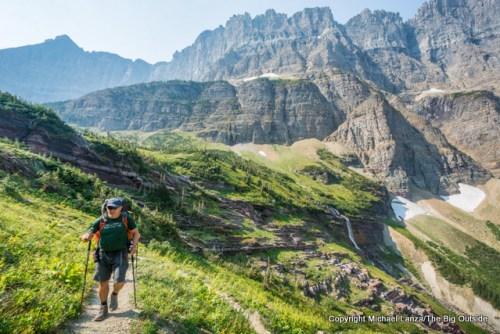 A backpacker in Glacier National Park.
