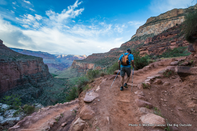 A hiker on the Bright Angel Trail, Grand Canyon National Park.