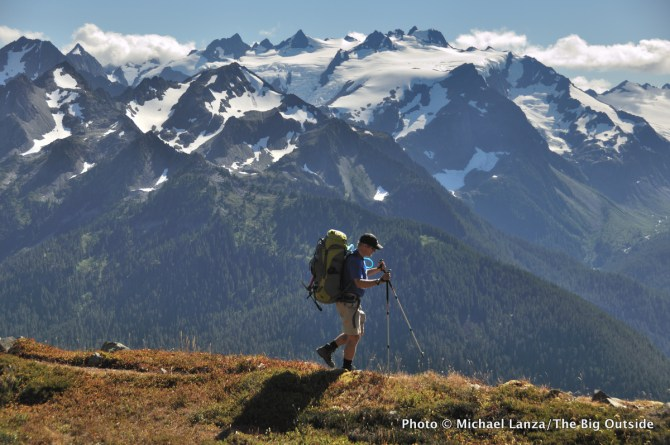 A backpacker in the Bailey Range, Olympic National Park.