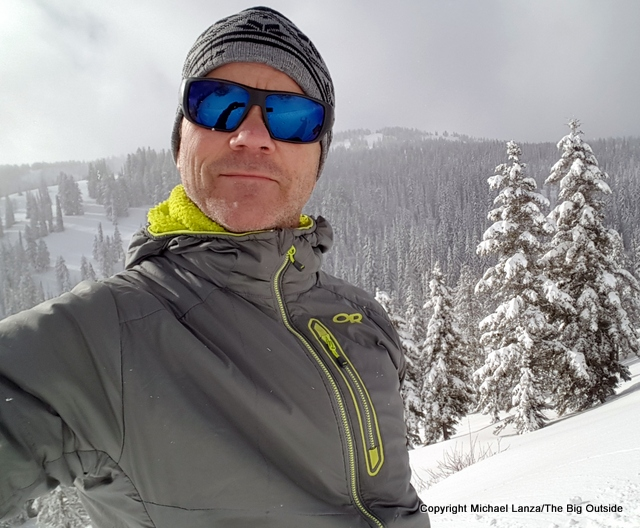 Wearing the Outdoor Research Ascendant Hoody while backcountry skiing.