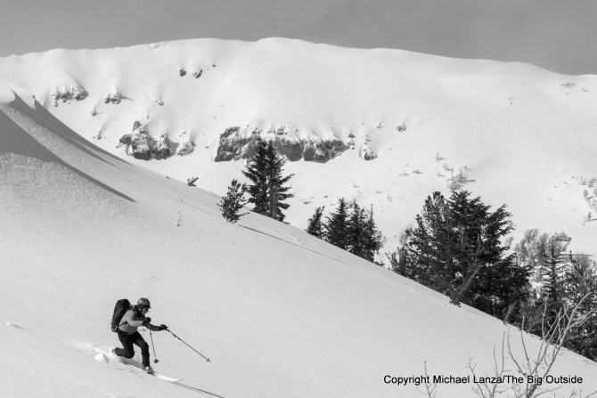 A backcountry skier in the High Sierra above Lake Tahoe.