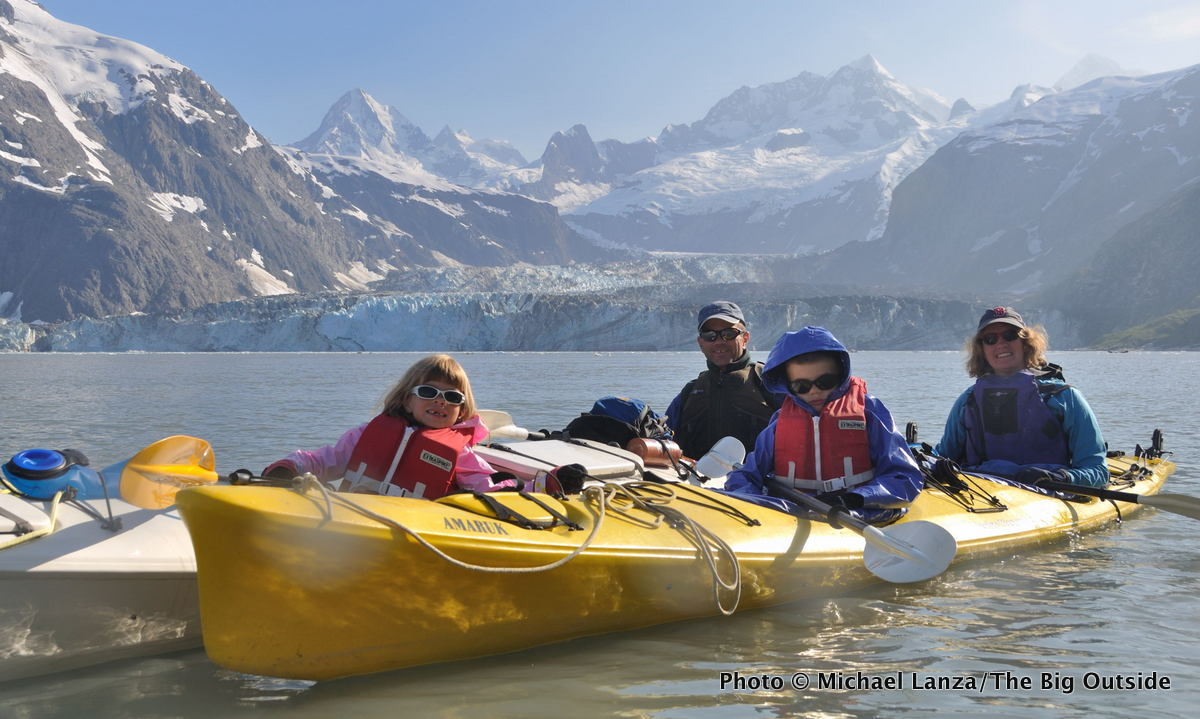 Michael Lanza's family sea kayaking in Johns Hopkins Inlet, Glacier Bay National Park.