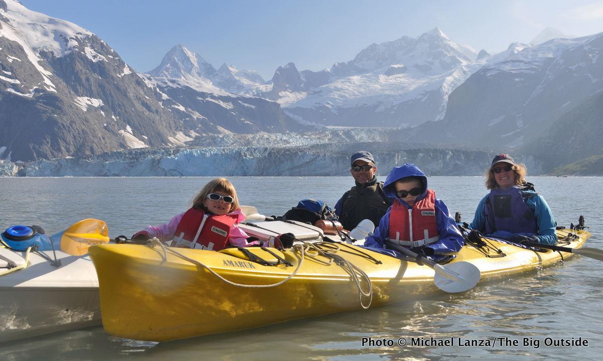 Michael Lanza's family sea kayaking in Johns Hopkins Inlet, Glacier Bay National Park.