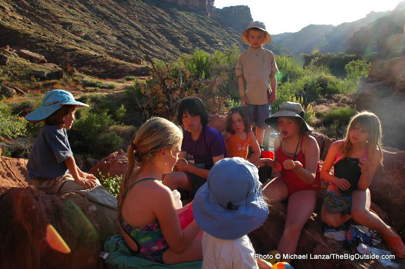 Children in a campsite while floating the Green River in Canyonlands National Park.