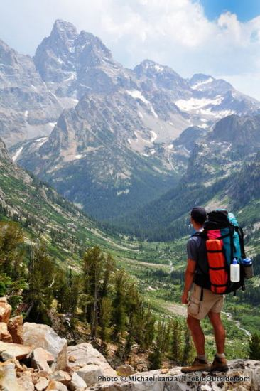 A backpacker above the North Fork of Cascade Canyon.