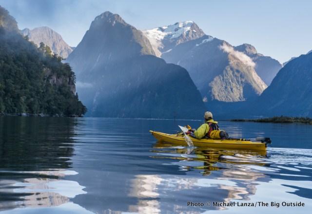 Sea kayaking Milford Sound, Fiordland National Park, New Zealand.
