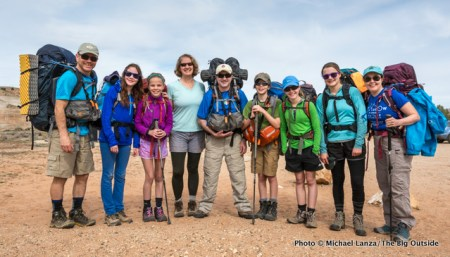 Family group of backpackers heading into Paria Canyon, in Utah and Arizona.