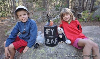 Young kids in camp while backpacking in Rocky Mountain National Park.