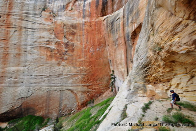 A hiker on the West Rim Trail in Zion National Park.