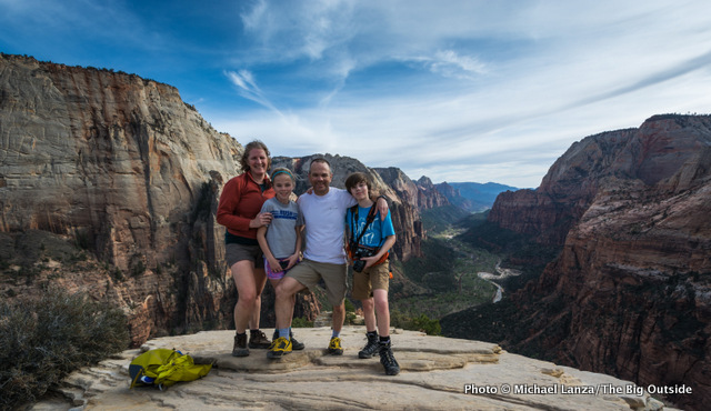 A family atop Angels Landing in Zion National Park.