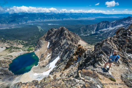 A hiker near the summit of 10,751-foot Thompson Peak, the highest peak in Idaho's Sawtooth Mountains.