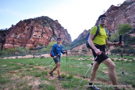 Hikers in the Hop Valley, Zion National Park.