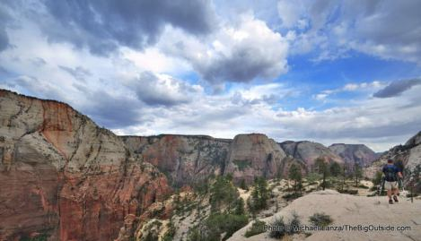 A hiker on the West Rim Trail, Zion National Park.