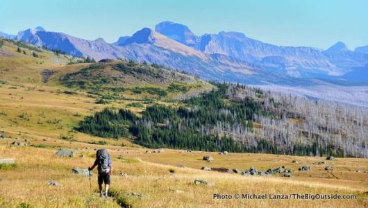 A backpacker on the Highline Trail in Glacier National Park.