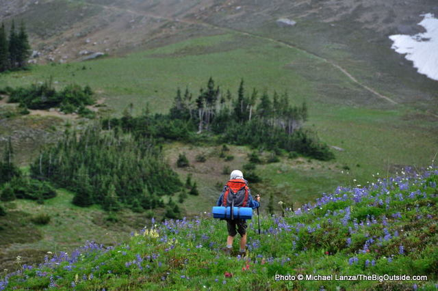A young boy backpacking the Wonderland Trail, Mount Rainier National Park.