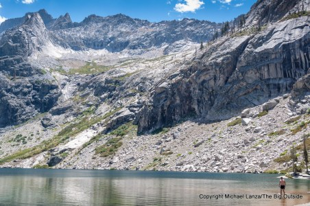 A backpacker swimming in the largest of the Hamilton Lakes, High Sierra Trail, Sequoia National Park.