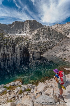A young girl backpacking in Sequoia National Park.