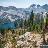 A backpacker in Idaho's Sawtooth Mountains.