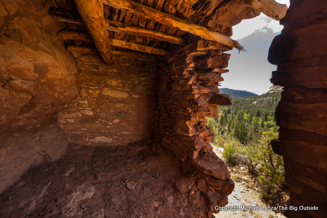 Inside an Ancestral Puebloan ruins, Woodenshoe Canyon, Dark Canyon Wilderness, Utah.