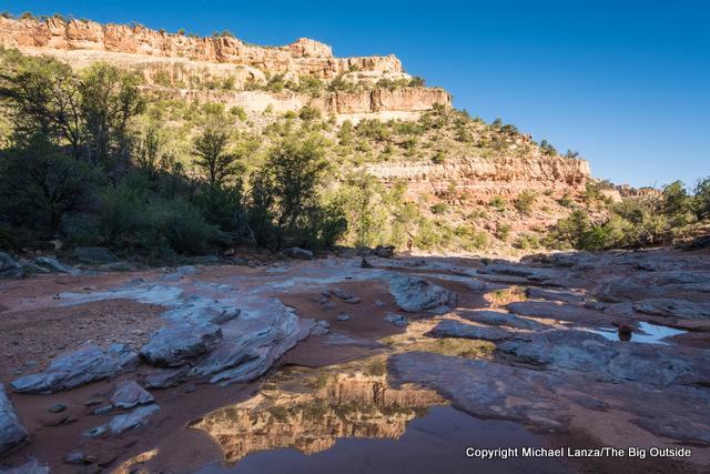 Pools of water in lower Woodenshoe Canyon, Dark Canyon Wilderness, Utah.