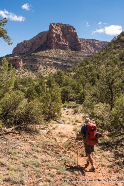 A backpacker in Dark Canyon, Utah.