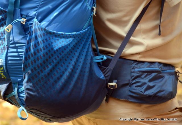 Gregory Optic 58 hipbelt and side pocket.