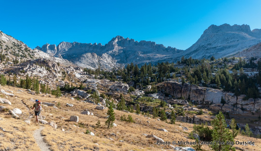 A backpacker in Matterhorn Canyon, Yosemite National Park.