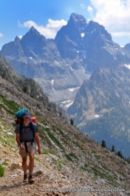 A backpacker above the North Fork Cascade Canyon, Grand Teton National Park.