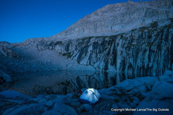 A wilderness campsite at Precipice Lake in Sequoia National Park.