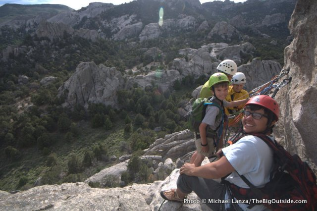 Smiling young rock climbers at Idaho's City of Rocks National Reserve.