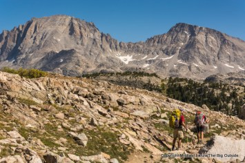 Backpacking toward Island Lake, Wind River Range.