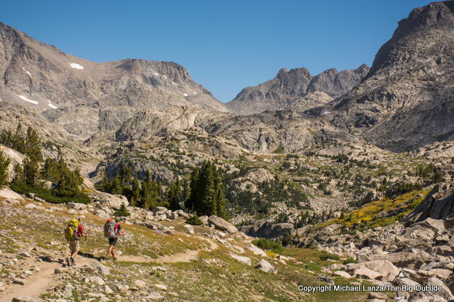 Backpackers on the Indian Pass Trail, Wind River Range, Wyoming.