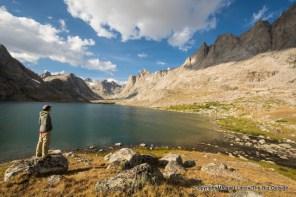 A backpacker in Titcomb Basin, Wind River Range, Wyoming.