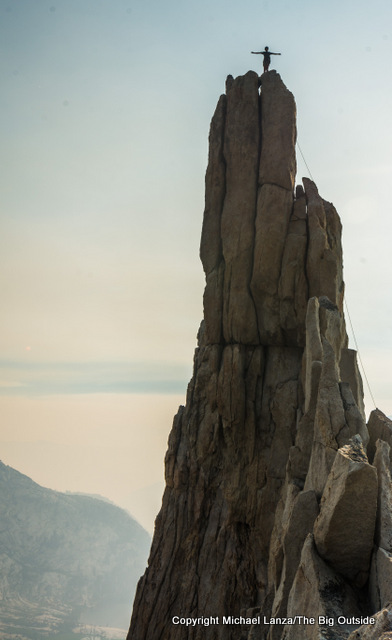 Young rock climber on Eichorn Pinnacle in Yosemite National Park.