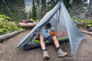 The Gossamer Gear The One solo ultralight tent in Glacier National Park.